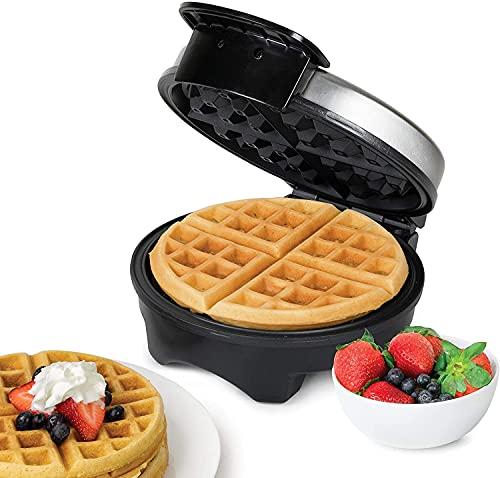 Waffeleisen 1000W, Waffeleisen Belgische Waffel Rund Waffle Maker, Elektrischer Waffelautomat Edelstahl, Einstellbare Temperaturkontrolle, Tiefe Rillen, Antihaftbeschichtung, Anzeigeleuchten